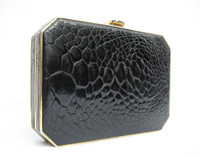 Lovely Black 1970's Turtle Skin Clutch Evening Bag w/Original Box -  MONTE NAPOLEONE