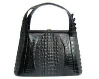 Remarkable JET BLACK 1960's Hornback ALLIGATOR Skin Handbag w Horned Tail Skin Top Handles!