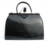 Timeless 1950's-60's Black CROCODILE Porosus Belly Skin Handbag - FRANCE