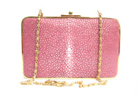Gorgeous PINK Early 2000's STINGRAY Skin Clutch Evening Bag