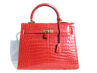 RED CROCODILE Porosus Belly Skin KELLY Bag SATCHEL Bag - HERMES Style - ITALY