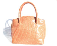 SALMON MAXIMA ALLIGATOR Belly Skin Handbag - Gorgeous!!