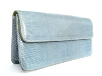 Baby BLUE Early 2000's Lizard Skin CLUTCH Shoulder Bag - LAI!