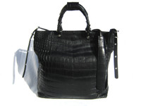 XL 15 x 14 Early 2000's Black ALLIGATOR BELLY Skin Handbag SHOULDER Bag Bucket Tote