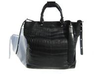 XL 15 x 14 Early 2000's Black ALLIGATOR BELLY Skin Handbag SHOULDER Bag Bucket Tote