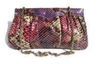 1980's PINK, PURPLE & CREAM PYTHON Snake Skin Clutch Shoulder Bsg- Supreme