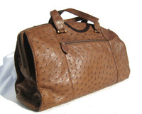 Classic XL 16 x 10 NEW Early 2000's Cognac OSTRICH Skin SATCHEL Travel Carry-On Bag