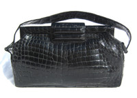 1970's-80's Jet Black CROCODILE Skin Shoulder Bag