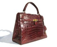 Oxblood RED CROCODILE Belly Skin KELLY Bag SATCHEL Bag - HERMES Style