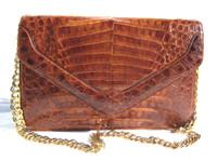 DONNA ELISSA Whiskey Brown 1990's-2000's ALLIGATOR Belly Skin SHOULDER Bag - Chain!