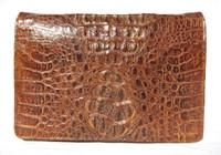 UNISEX 1960's-70's Cognac Hornback CROCODILE Skin Shoulder Messenger Bag Clutch