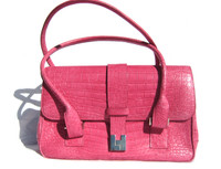 HOT PINK Crocodile Belly Skin Handbag SATCHEL - LAMBERTSON TRUEX