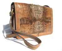 Terrific Bohemian Style 1980's Hornback Crocodile Skin Shoulder Bag Clutch