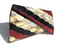 Stunning Red, Black & Cream 1970's ASYMMETRICAL Snake Skin CLUTCH