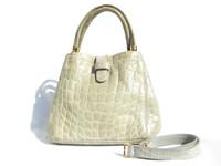 Early 2000's DONNA ELISSA Pale Green Alligator Belly Skin Handbag Shoulder Bag