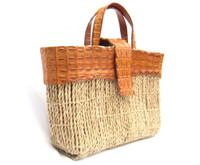 XL 17 x 11 Cognac Hornback Crocodile Tail Skin & Straw Handbag Tote - Titti Del'Aqua - MILANO