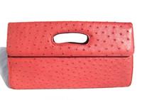 Classic 1990's-2000's Red Ostrich Skin Clutch Handbag