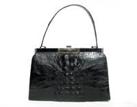 Midnight BLACK 1950's-60's Hornback CROCODILE Skin Shoulder Bag