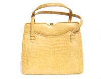 Gorgeous Buttercup YELLOW 1960's-1970's ALLIGATOR Belly Skin Handbag