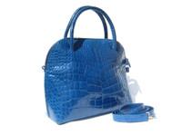 XL MAXIMA Electric BLUE Alligator Belly Skin Handbag Bowler BOLIDE w/Key! - ITALY