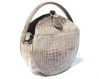 Gorgeous CREAM & TAUPE Early 2000's Canteen Style CROCODILE Handbag