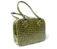 Lovely OLIVE GREEN 2000's CROCODILE Belly Skin Shoulder Bag -OGGI - ITALY