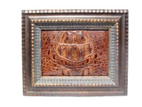 Custom FRAMED  11 x 9 Vintage Genuine CROCODILE Skin Upcycled ART - Home Decor