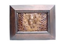 9 x 7 Custom FRAMED Vintage Genuine Hornback CROCODILE Skin Upcycled ART - Home Decor