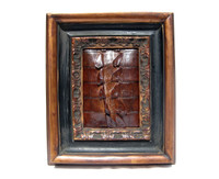 Custom FRAMED 7.5 x 9 Vintage Genuine ALLIGATOR TAIL Skin Upcycled ART - Home Decor