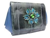 Custom Jeweled GREEN & BLUE 1980's Embellished COBRA Snake Skin CLUTCH Shoulder Bag