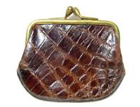 Chocolate Brown 1940's-50's Alligator Skin Change Coin Purse w/Brass