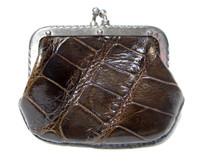 Petite CHocolate Brown 1940's-50's Alligator Skin Change Coin Purse