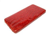Apple RED 1950's-60's Long Hard-Sided ALLIGATOR Skin CARD Case Pocket Wallet