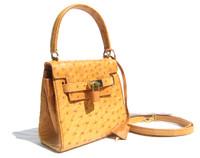 Petite BURNT ORANGE Early 2000's BIRKIN Style OSTRICH Skin Handbag SHOULDER bag