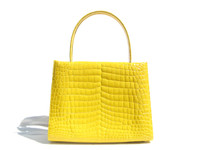 Stunning 2000's XL Bright YELLOW Crocodile Porosus Belly Skin Handbag