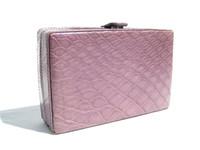 Beautiful LILAC Purple 2000's ALLIGATOR Skin Clutch Evening Bag Wallet - MAXIMA