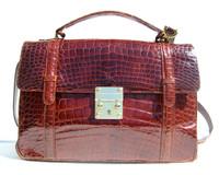 XL Early 2000's Cognac ALLIGATOR Belly Skin Handbag Shoulder Bag