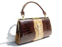 1960's-70's 2-Tone Hornback CROCODILE Skin CLUTCH Handbag