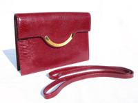 DIOR 1970's-80's CRANBERRY Lizard Skin Clutch/Shoulder Bag