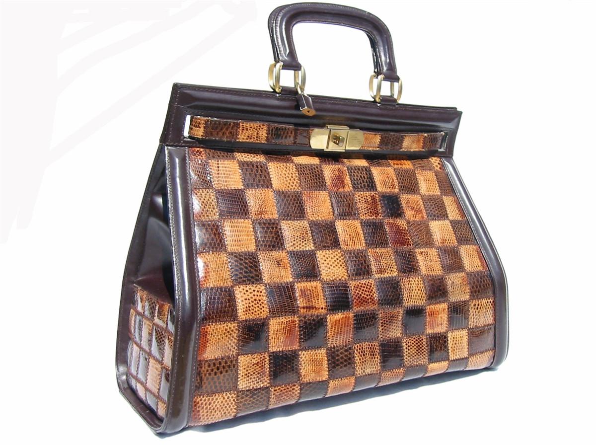 65dfad5a2e GIANT 1970 s Patchwork LIZARD Skin BIRKIN Bag BRIEF - HERMES ...