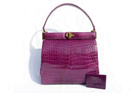 Rare 1960's PURPLE Crocodile Belly Skin Shoulder Bag with Accessories - COMTESSE