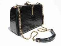 FERNANDE DesGRANGES 1950's Black CROCODILE Porosus SHOULDER Bag