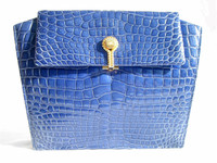 BLUE 1980's-90's Crocodile Skin CLUTCH Bag - ALFRED ROTH
