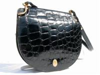 CHRISTIAN DIOR 1950's-60's Jet Black CROCODILE Skin SHOULDER Bag