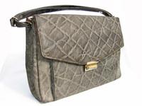 HUGE 1960's GENUINE ELEPHANT Skin Satchel Bag - CORBEAU