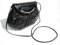 1970's FINESSE LA MODEL Black KARUNG Snake Skin Clutch CROSS Body Bag