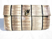 1970's-80's Cream & Black WATER SNAKE Skin Jeweled Swan CLUTCH