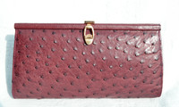 CORBEAU 1960's-70's OXBLOOD (Marsala) Red Classic Style Ostrich Skin Clutch Shoulder Bag