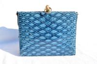 SUPER RARE Fabulous BLUE 1950's-60's MARTIN VAN SCHAAK Anteater Skin Handbag