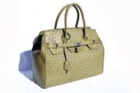 Stunning NEW Olive Green BIRKIN Style OSTRICH Skin Handbag - Lock & Keys!